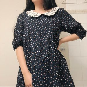 Japanese navy blue floral dress with lace collar